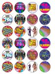 24 x 70's Seventies Edible Wafer Rice Paper Birthday Cup Cake Toppers